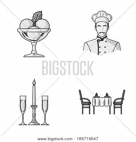 Ice cream with fruit, chef, candle and glasses, a covered table.Restaurant set collection icons in monochrome style vector symbol stock illustration .