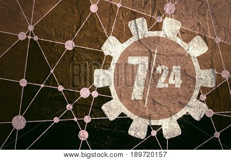 7 day 24 hours time operation mode in gears icon. Molecule And Communication Background. Connected lines with dots. Concrete grunge texture