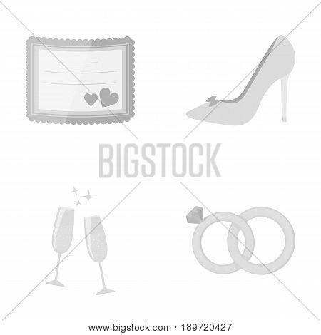 Invitation, bride s shoes, champagne glasses, wedding rings. Wedding set collection icons in monochrome style vector symbol stock illustration .