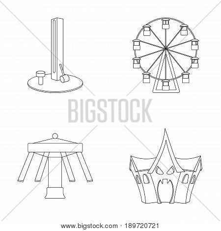 The device with a bat for measuring strength, a ferris wheel, a carousel, a house with windows. Amusement park set collection icons in outline style vector symbol stock illustration .