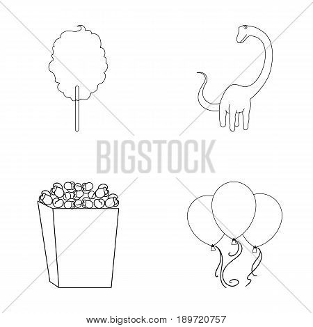 Sweet cotton wool on a stick, a toy dragon, popcorn in a box, colorful balloons on a string. Amusement park set collection icons in outline style vector symbol stock illustration .