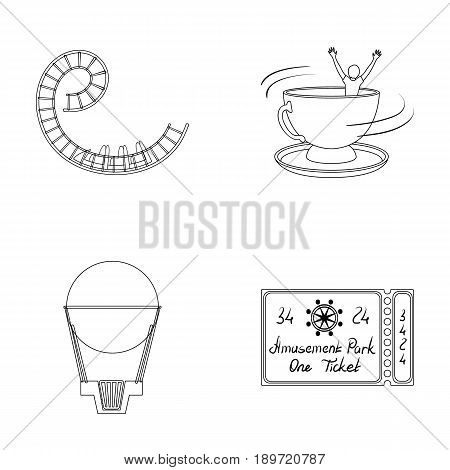 Roller coaster ride, balloon with basket, caruelle cup, ticket to the entrance to the park. Amusement park set collection icons in outline style vector symbol stock illustration .