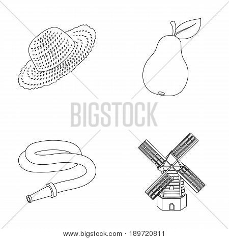 Straw hat, pear with leaf, watering hose, windmill. Farmer and gardening set collection icons in outline style vector symbol stock illustration .