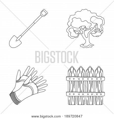 A shovel with a handle, a tree in the garden, gloves for working on a farm, a wooden fence. Farm and gardening set collection icons in outline style vector symbol stock illustration .