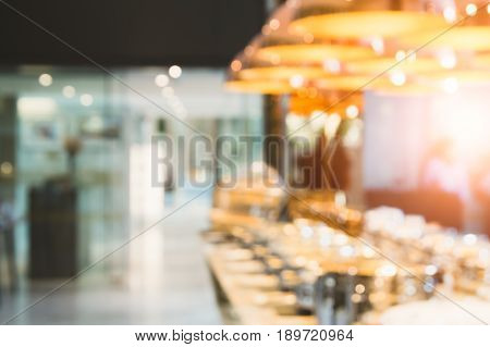 restaurant food bar , food center with light bokeh blurred background