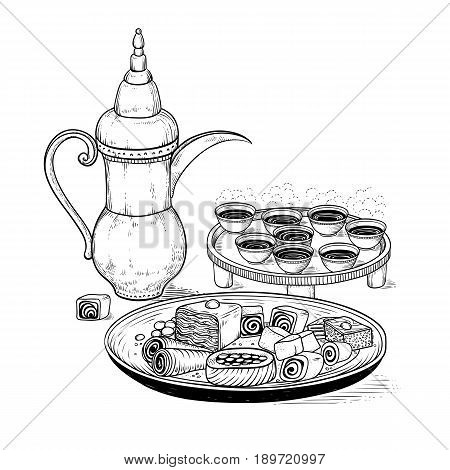 Vector sketch drawing ethnic Arabic cup and copper coffeepot, big plate East sweets. Illustration black and white items of the coffee ceremony. Engraving style