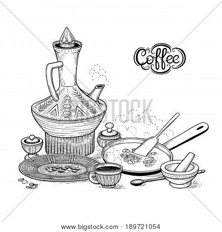 Vector sketch drawing East Arabic cup and vintage coffeepot, roasting coffee beans in a frying pan, wicker bowl and mortar. Illustration items of the Ethiopian coffee ceremony. Engraving style