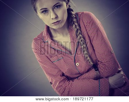 Sad Young Teenager Woman On Bed Feeling Pain