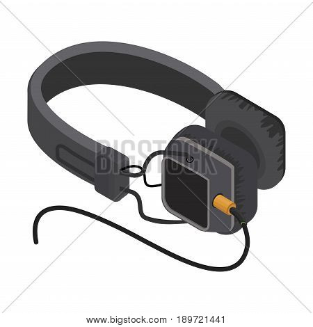 Isometric Headphones, Isolated on a white background vector illustration.
