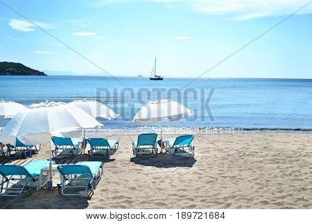 Agia Marina beach Aegina island Saronic Gulf Greece