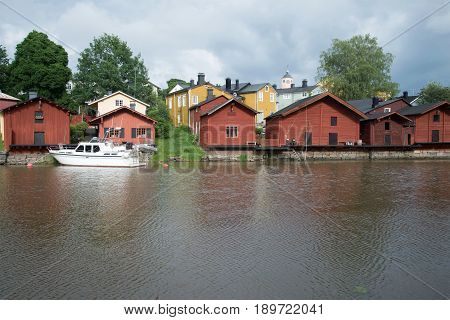 View of the Old town a gloomy June day. Porvoo, Finland