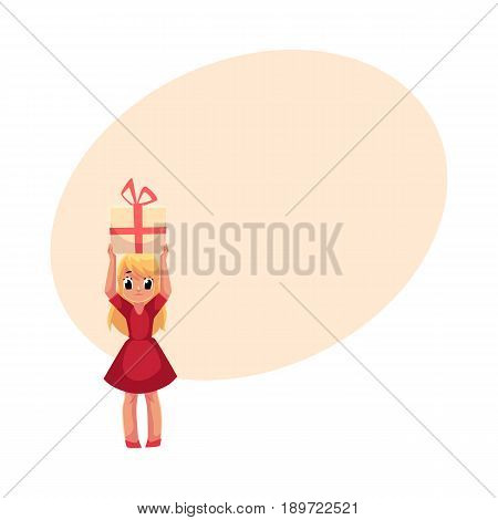 Little blond girl in red dress holding big birthday gift over head, cartoon vector illustration with space for text. Full length portrait of little girl in red dress holding birthday gift