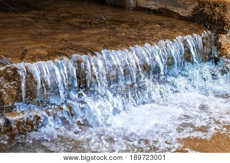 Water flowing from a dam on lake, nature