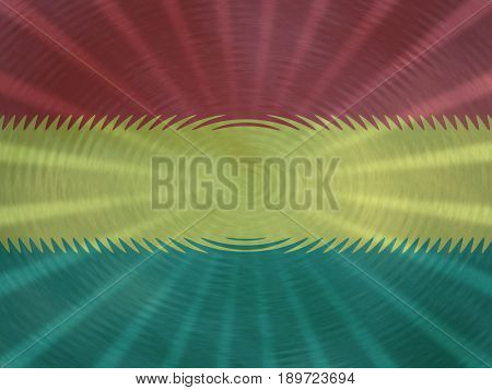Bolivia flag background with ripples and rays illustration