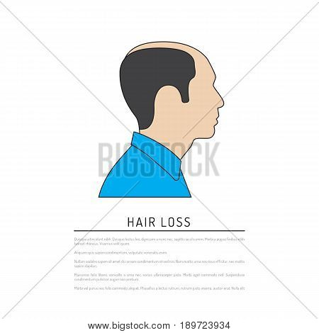 Profile of bald men painted in a flat style, isolated on white background vector.