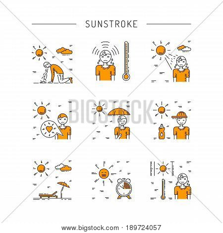 Vector icons on the theme of solar impact and protection measures during exposure to the sun in hot weather. Icons sunstrocke in outline style.