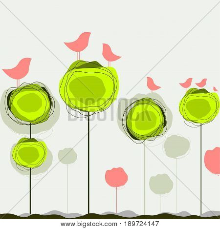 Abstract colorful vector background with birds and tree in Eps10 vector illustration
