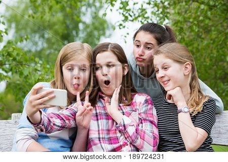 Group Of Young Girls Posing For Selfie In Park