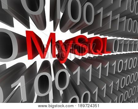MySQL in the form of binary code isolated on white background. High quality 3d render.