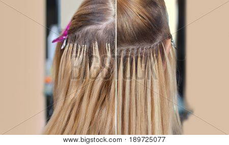 Photo Before And After Hair Extensions To A Young Girl, A Blonde In A Beauty Salon. Professional Hai