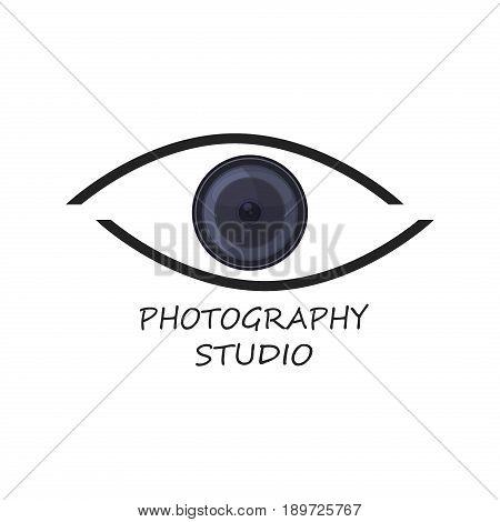 Photography camera concept logo icon photographer concept technology element camera design digital studio symbol vector template. photo logo