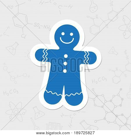 Vector christmas icon. New year illustration. flat sticker Gingerbread Cookie on white background
