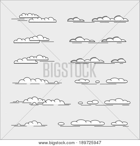set of clouds icons, thin line style