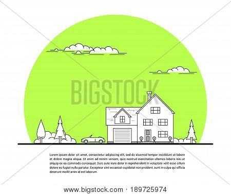 Picture of private family house with car and trees, real estate concept, thin line flat illustration