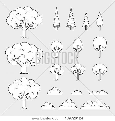 set of tree icons, thin line style
