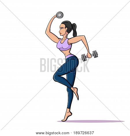 picture of young fit woman with two dumbells, fitness and sport concept