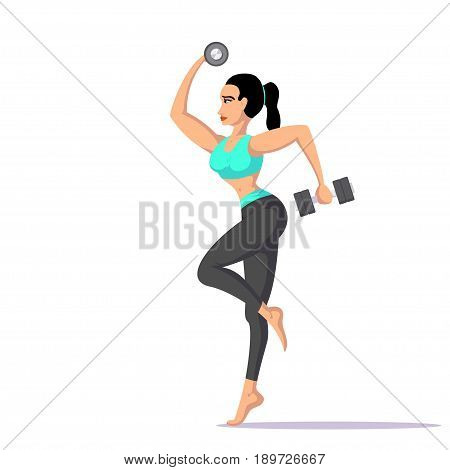picture of young fit woman with two dumbells, fitness and sport concept, flat style illustration