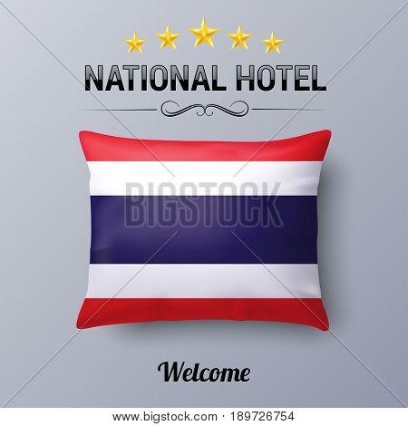 Realistic Pillow and Flag of Thailand as Symbol National Hotel. Flag Pillow Cover with Thail flag