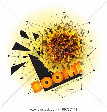 Vector illustration of abstract explosion with sharp debris, fireball and scattering pieces of black triangle with BOOM incription that can be easily removed. Isolated on white background