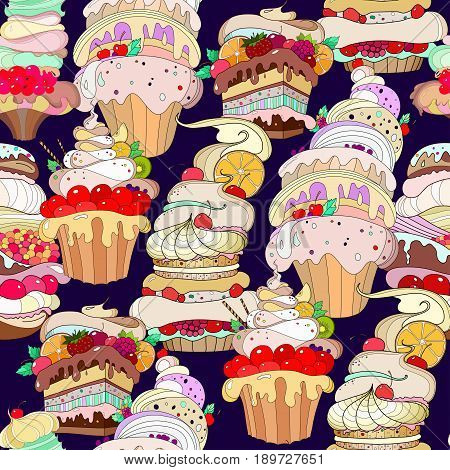 Vector Pattern. Illustration of fantastic pastries on a dark purple background.