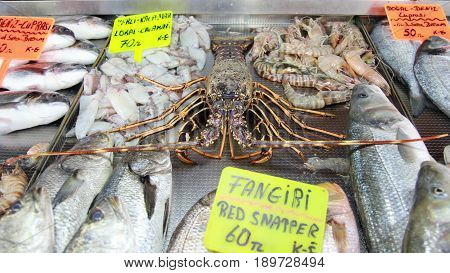 Fish and lobster for sale at a popular fish market in Fethiye,Turkey