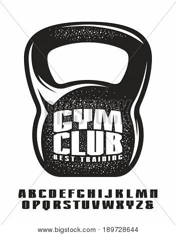 Sanserif font. Extra bold face. Gym club emblem for t-shirt. Black print on white background
