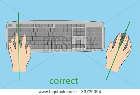 correct and incorrect position of hands to work on the keyboard. vector illustration.