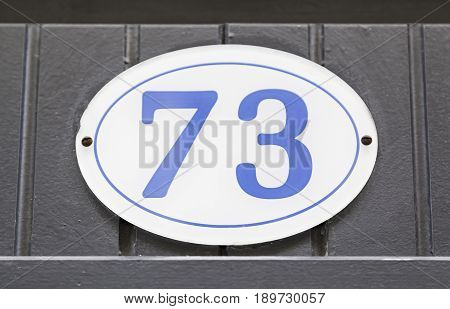 Plate With Number Seventy-three