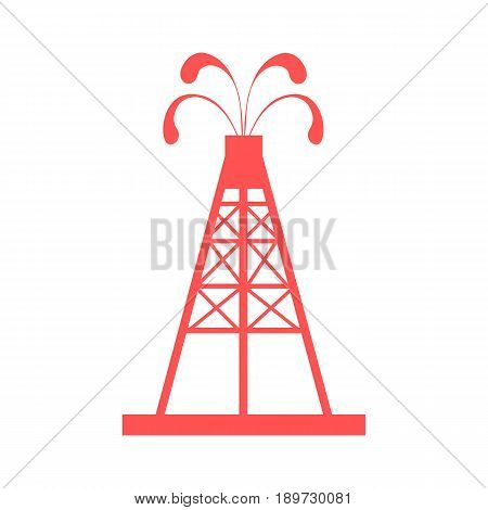 Stylized Icon Of The Oil Rig With Fountains Spurting Up Oil With Oil