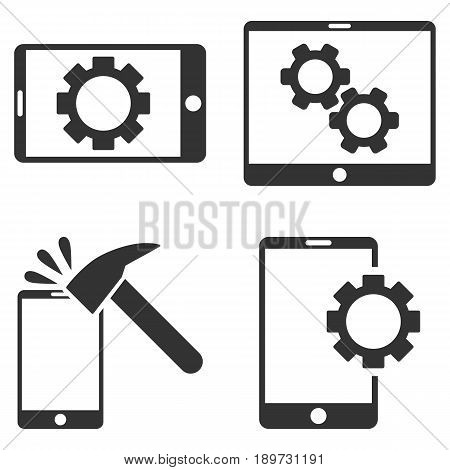 Mobile Options vector icon clip art. Collection style is gray flat symbols on a white background.