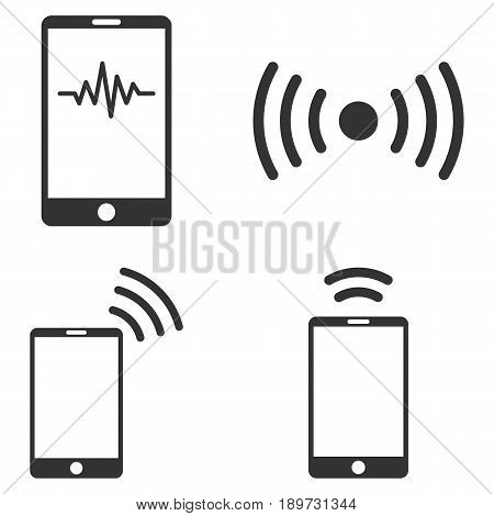Mobile Signal vector icon set. Collection style is gray flat symbols on a white background.