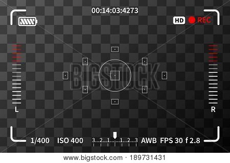 Camera viewfinder with iso battery and audio levels marks on transparent background
