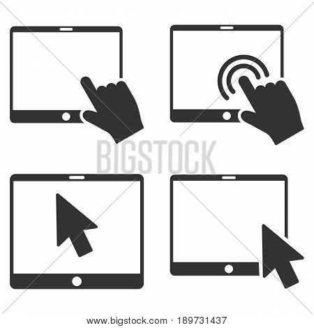 Mobile Tab Pointer vector icon collection. Collection style is gray flat symbols on a white background.