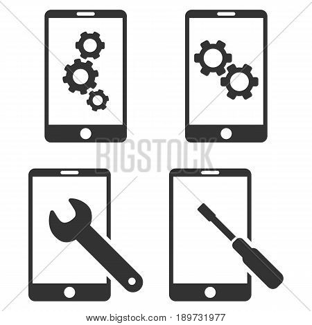 Smartphone Setup Tools vector icon collection. Collection style is gray flat symbols on a white background.