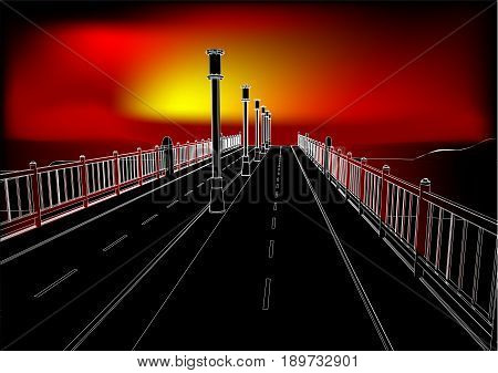 landscape sunset. bridge and sunlight. 10 EPS