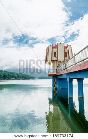 Lighthouse in the middle of Tuyen Lam Lake, Da Lat, Lam Dong province, VIetnam