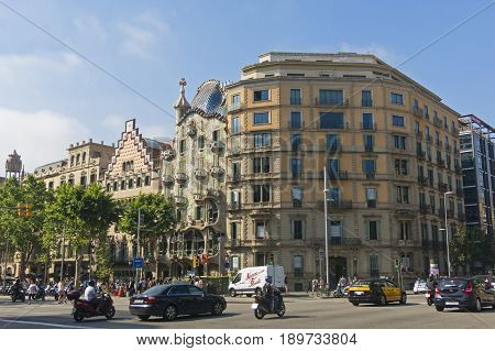 BARCELONA SPAIN - MAY 27 2017: The Casa Batllo by Gaudi and Casa Ametller by Puig i Cadafalch examples of Catalan modernist architecture. Barcelona Spain