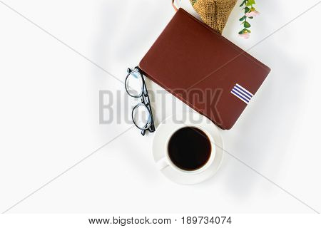 White Coffee Cup On The Desk With Books. Concept Coffee Lover Background.