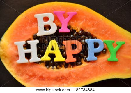 WORD BY HAPPY ON A  ABSTRACT COLORFUL BACKGROUND