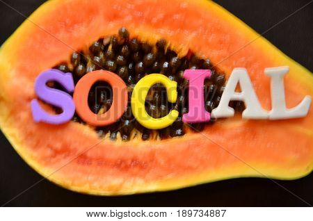 WORD SOCIAL ON A  ABSTRACT COLORFUL BACKGROUND